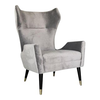 Grey Velvet Italian Modern Style Wingback Chair For Sale