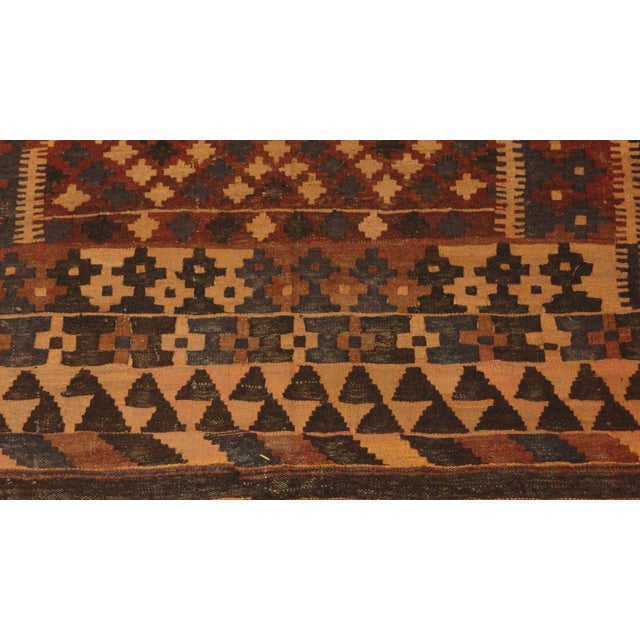 "Boho Chic Afghan Brown Kilim Rug - 6'9"" x 9'8"" For Sale - Image 3 of 3"