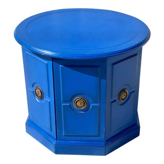Final Markdown 1970s Boho Chic Cobalt Blue Side Cabinet For Sale