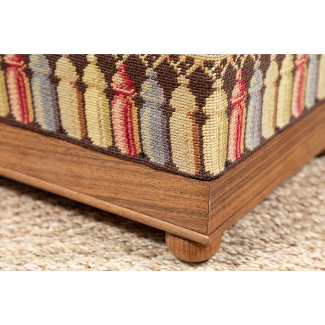 Vintage Needlepoint Foot Stool For Sale In Los Angeles - Image 6 of 8