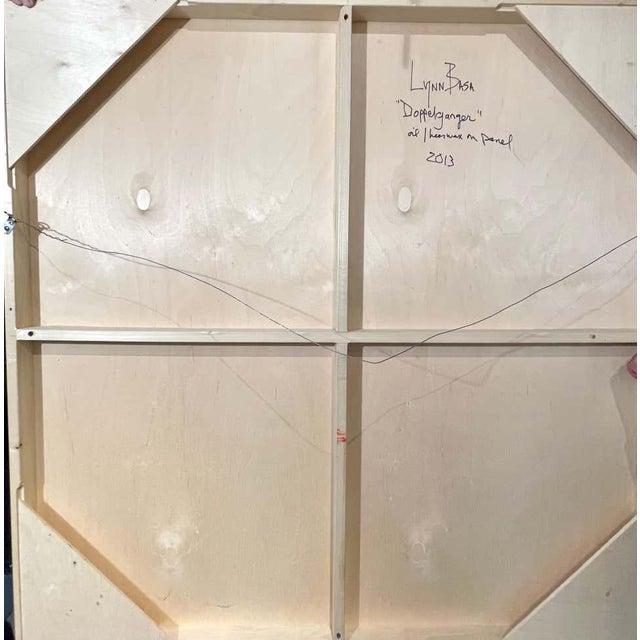 """Lynn Basa Encaustic Black and White Stripe Panel """"Doppleganger"""" 2013 For Sale - Image 11 of 12"""