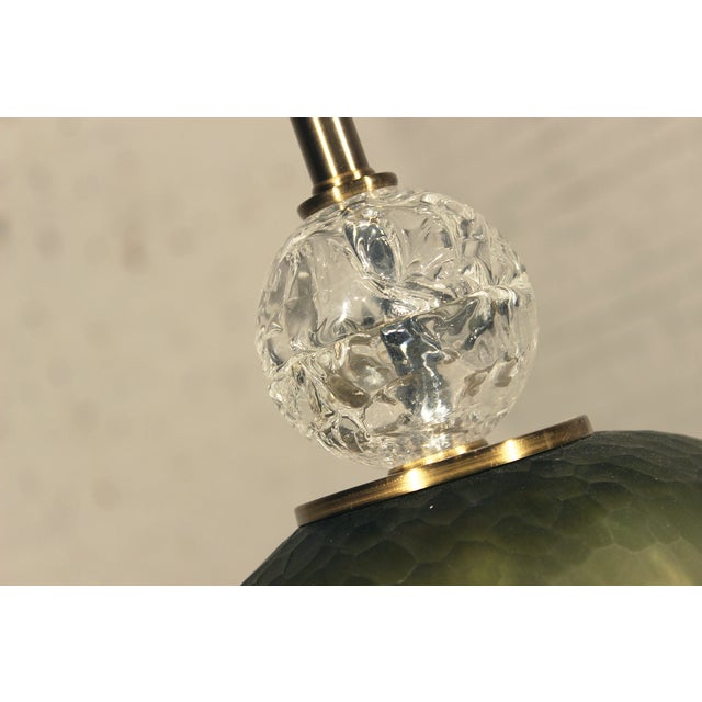 John Richard Green Glass & Crystal Buffet Lamp - Image 6 of 10
