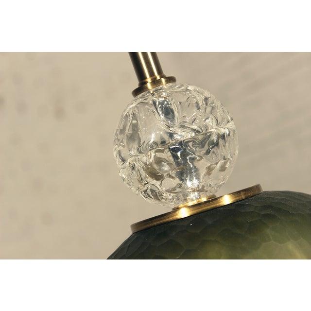 John Richard Green Glass & Crystal Buffet Lamp For Sale - Image 6 of 10
