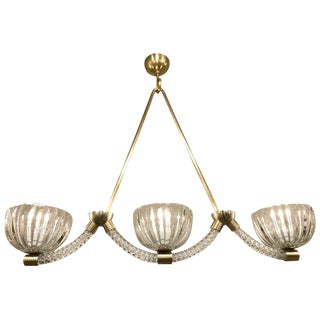 Barovier Murano Glass Three-Light Chandelier / Pendant For Sale