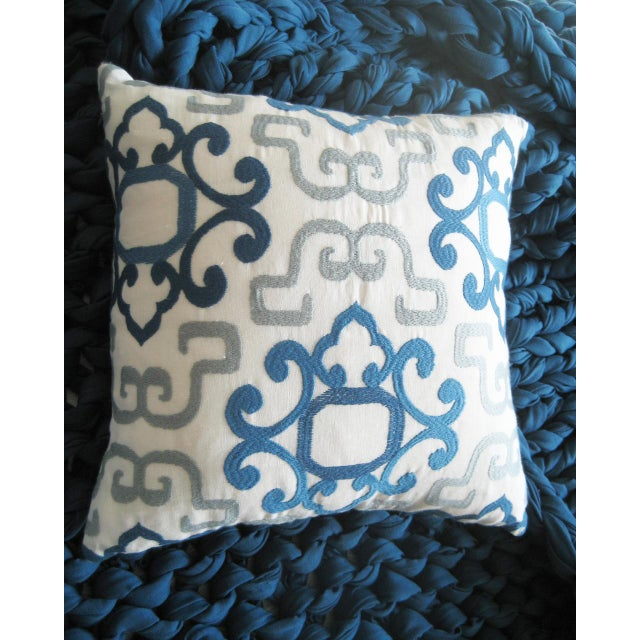 Blue & White Greek Pillow For Sale - Image 4 of 4