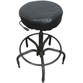 Vintage Black Cushioned Adjustable Stool For Sale