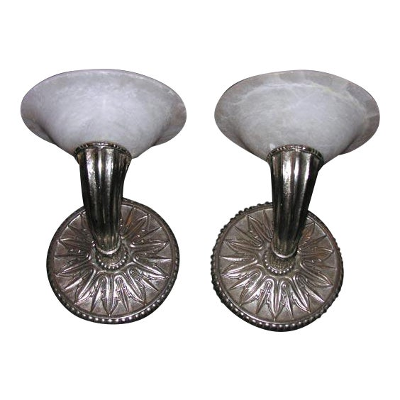 Pair of Modern Deco-Style Wall Sconces For Sale