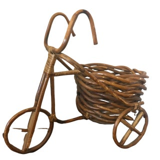 Mid Century Rattan Tricycle Plant Stand For Sale