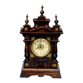 German Carved Wood Shelf Clock Black Forest