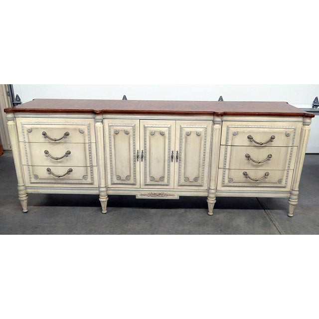 Louis XV style distressed painted sideboard with a fruitwood top, 6 drawers and 2 doors containing 3 drawers.