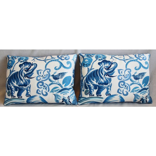 """Pair of reversible custom-tailored pillows in blue and white cotton fabric called """"Wilderness Persian Blue"""" from P...."""