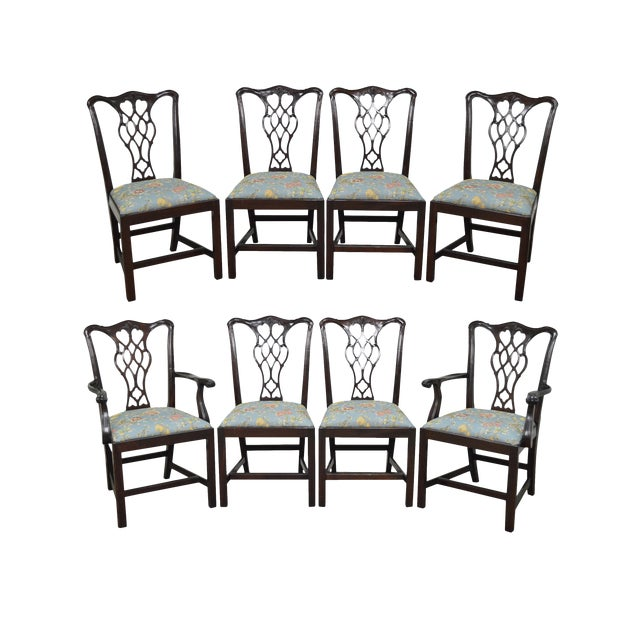 Councill Craftsman Solid Mahogany Chippendale Style Dining Chairs - Set of 8 - Image 1 of 10