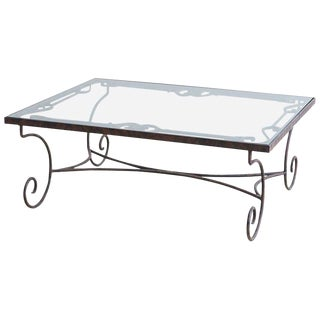 Spanish Style Wrought Iron and Glass Coffee Table For Sale