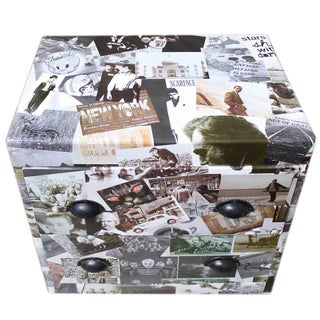 Photo Collage 2-Drawer Bedside Table For Sale