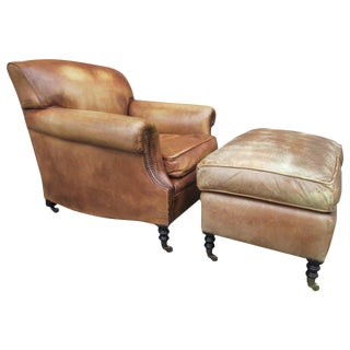 Leather Lounge Chair and Ottoman by George Smith For Sale