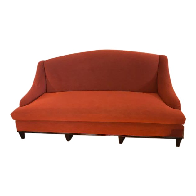 Classic Red Curved Arm Sofa | Chairish
