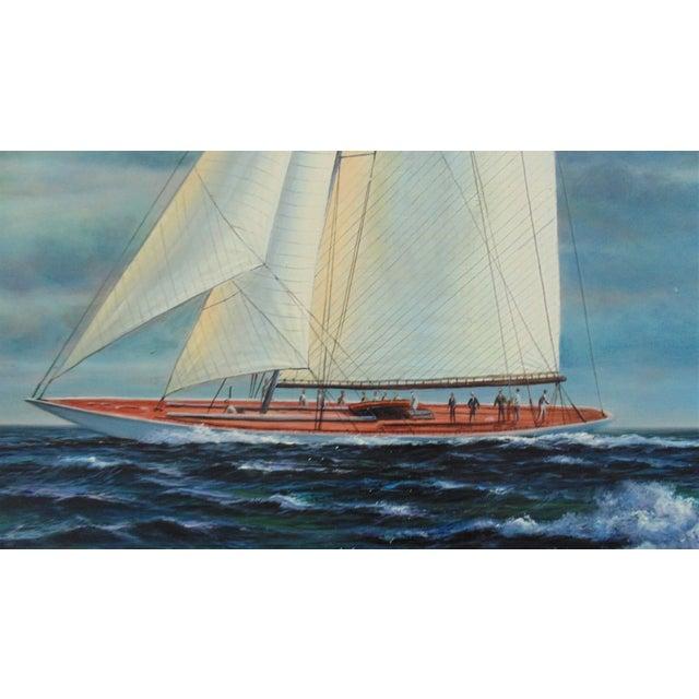 Nautical Vintage Mid-Century J. Gloguen Large Sailing Ship Schooner Nautical Signed Oil Painting For Sale - Image 3 of 7