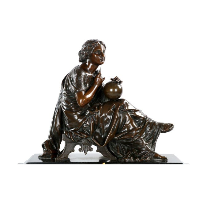 Traditional J.E. Caldwell Mantel Clock With Bronze Sculpture of a Cartographer - Image 5 of 10