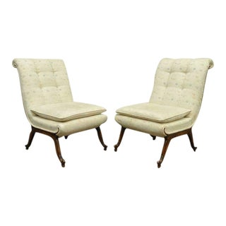 1960s Vintage Hollywood Regency French Style Rolled Back Slipper Lounge Chairs- A Pair For Sale