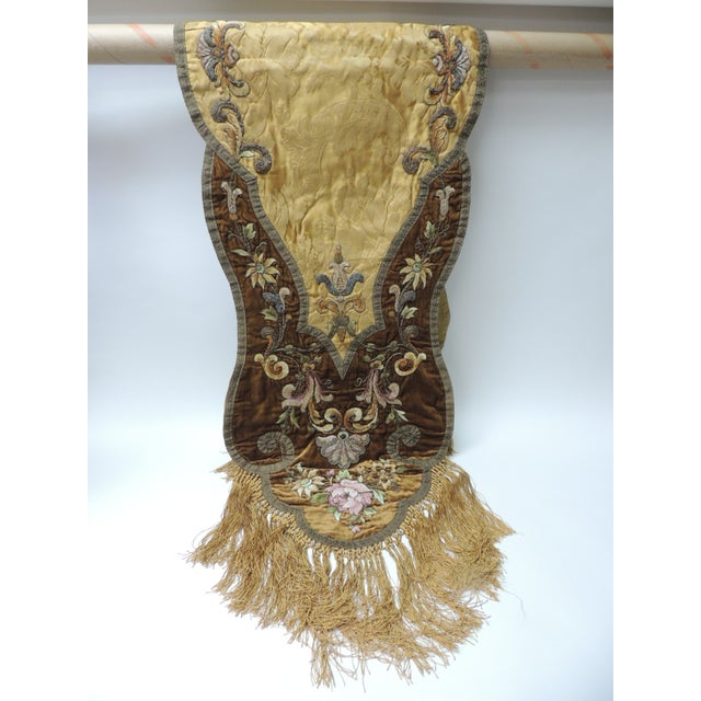 19th Century Silk Embroidery Byzantine Damask and Velvet Table Runner For Sale - Image 9 of 9
