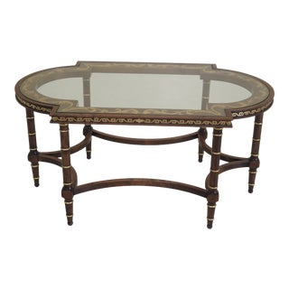 Neoclassical Paint Decorated Glass Top Coffee Table For Sale