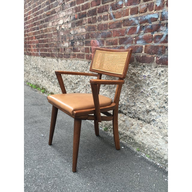Mid-Century Changebak Cane & Wood Accent Chair - Image 5 of 7