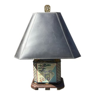 Mid-Century Japanese Hand Painted Lamp For Sale