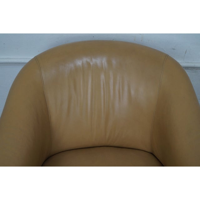 Barrel Back Leather Club Chairs - A Pair For Sale - Image 9 of 10