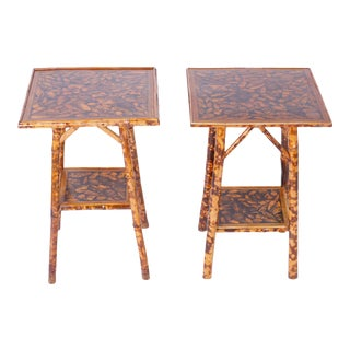 Bamboo Tables with Seashell Decoupage Tops - A Pair For Sale