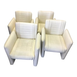 Vintage Art Deco White Leather Chairs on Casters - Set of 4 For Sale