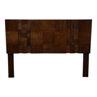 Walnut Brutalist Lane Queen Headboard For Sale