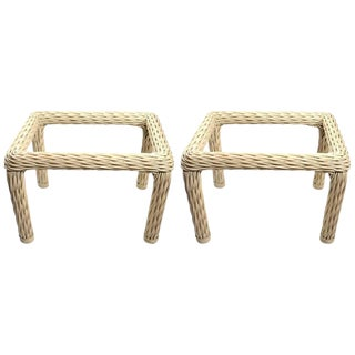 Vintage Woven Wicker Tables-a Pair For Sale
