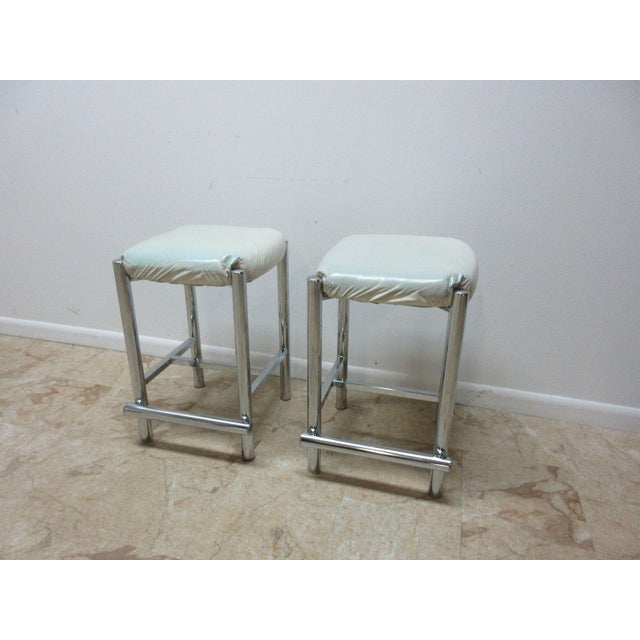 Mid-Century Modern Mid-Century Cal Style Chrome Counter Bar Stools - A Pair For Sale - Image 3 of 11