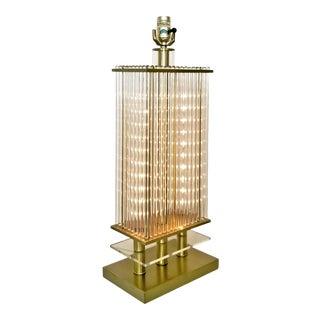 Gaetano Sciolari Style Glass Rod Table Lamp With New Wiring - Mid Century Modern Palm Beach Boho Chic For Sale