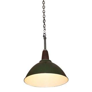 Vintage Green Enamel Industrial Pendant Light For Sale