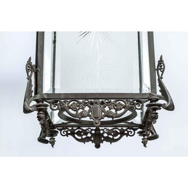 1930s Bronze Lantern With Etched Glass For Sale In Los Angeles - Image 6 of 9