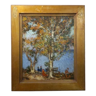 Ronald Hargrave -Women at the Lake -Oil Painting-Beautiful American Impressionist-c.1900s For Sale