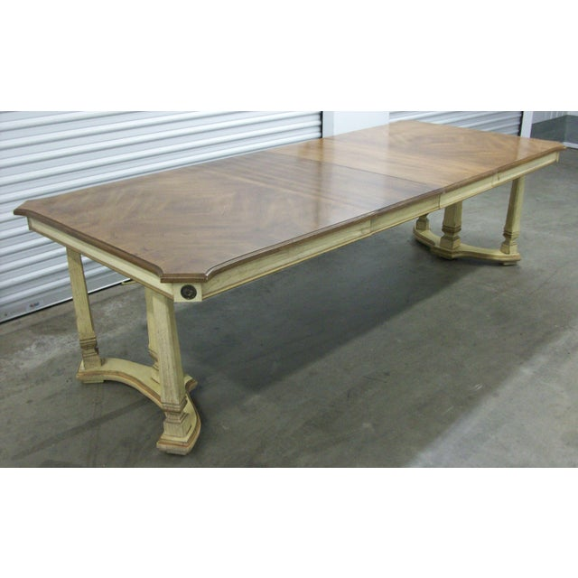 "1970s French Provincial Stanley Furniture Rectangular Trestle Dining Table 102"" For Sale - Image 9 of 10"