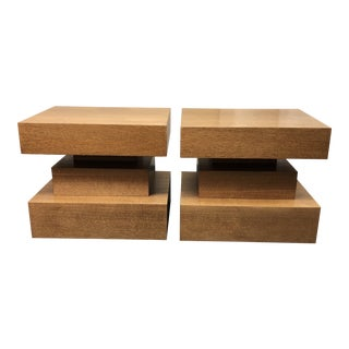Custom Oak Cantilever Side Tables + Nightstands, a Pair For Sale