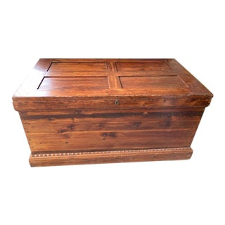 1800's Antique Cedar Chest on Wheels For Sale