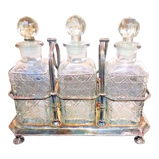 Antique 1910 English Crystal Tantalus or Decanter Set - 4 Pieces