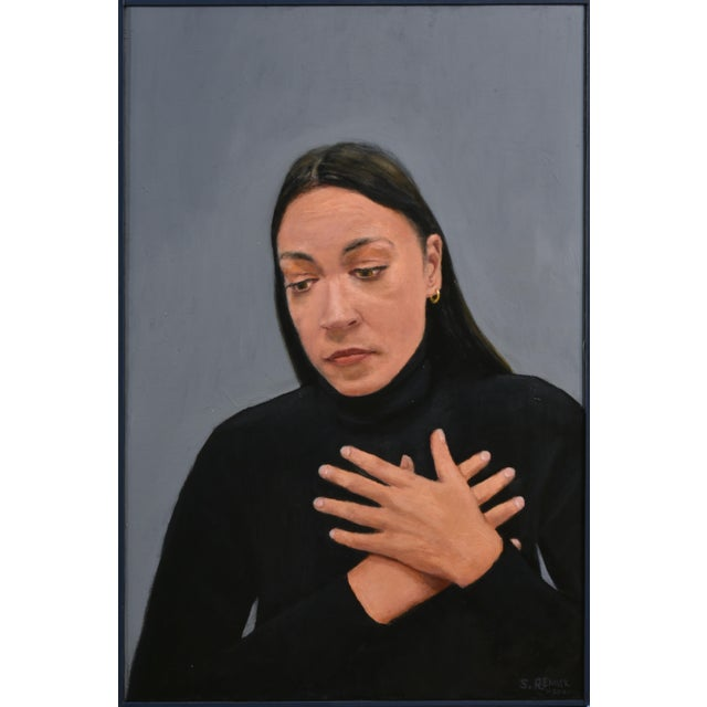 """""""Empathy"""" Contemporary Portrait Painting by Stephen Remick, Framed For Sale - Image 9 of 9"""