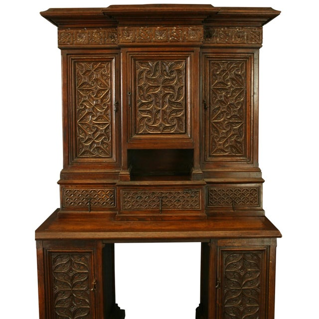 Heavily Carved Antique French Gothic Desk - Image 2 of 8