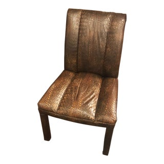Vintage Modernist Faux Alligator Skin Chair For Sale