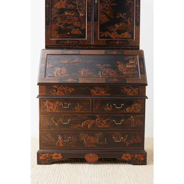 Mid 20th Century English Chinoiserie Style Lacquered Parcel-Gilt Secretary For Sale - Image 5 of 12