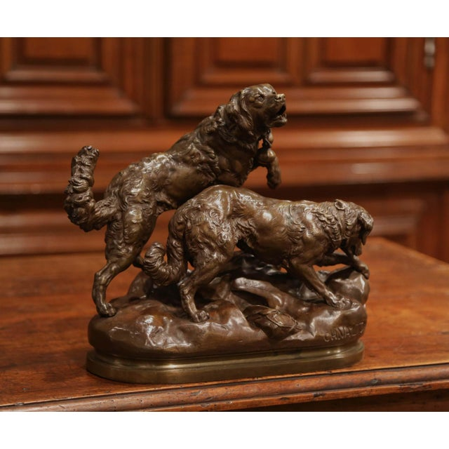 Decorate a man's desk or a library shelf with this antique bronze sculpture composition. Created in France, circa 1890,...