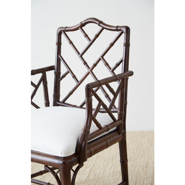 White Chinese Chippendale Chocolate Lacquered Faux Bamboo Dining Chairs For Sale - Image 8 of 13