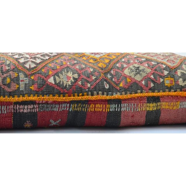 "Vintage Turkish Kilim Pillow 34"" X 20"" For Sale - Image 4 of 6"