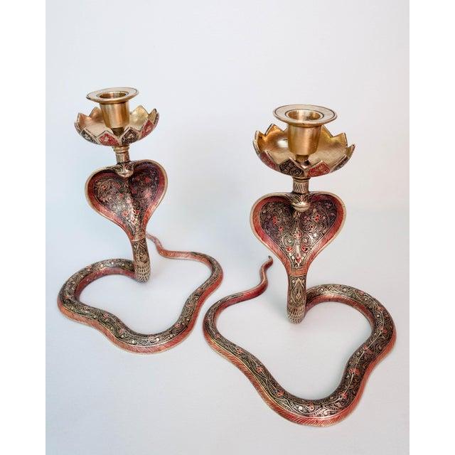 Brass Enameled Cobra Candle Holder - a Pair For Sale - Image 4 of 6