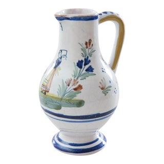 Antique French Quimper Creamer Pitcher For Sale